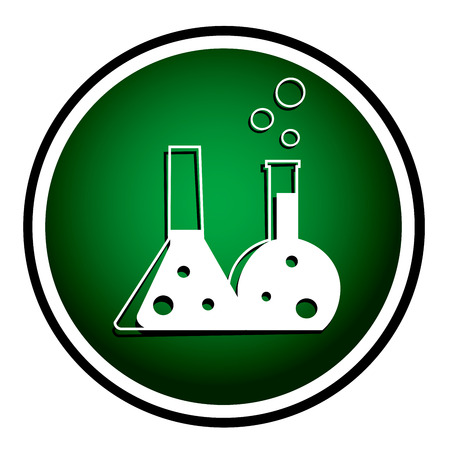 Flask with chemical reagent - green icon Vector