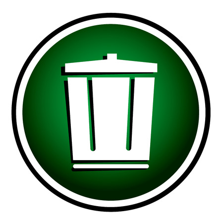 dispose: Vector trash can green round icon Illustration