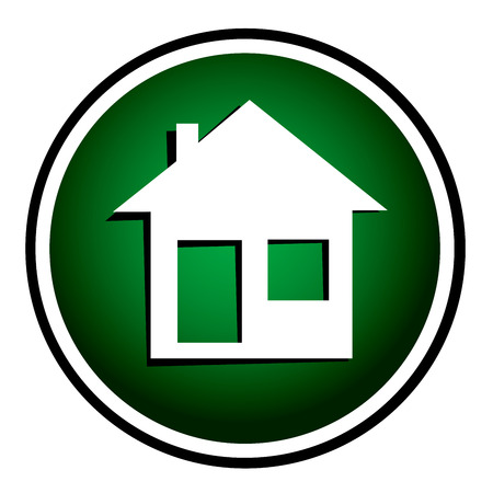 realstate: Illustration of home icons, house silhouettes green round icon