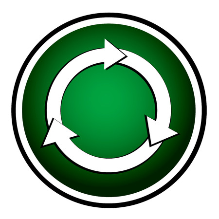 Arrows circle vector green round icon Vector