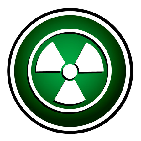 barrel radioactive waste: Radioactive vector green round icon Illustration