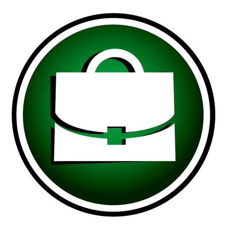 Case - green round icon Stock Vector - 22690684
