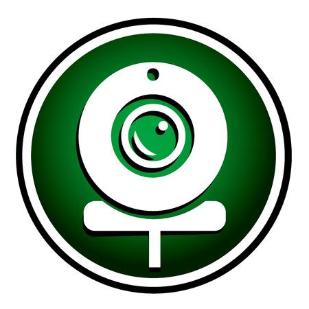 webcam: Webcam - green round icon Illustration
