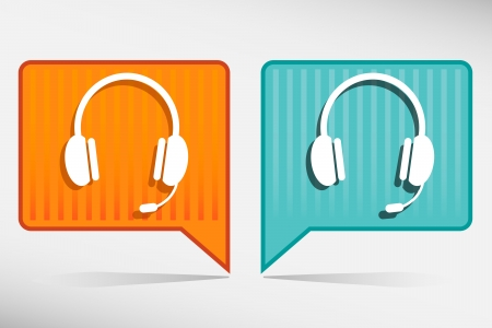 call center: Vector yellow and blue headset pointer design element. Illustration