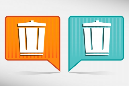 dispose: Vector trash can yellow and blue pointer Illustration