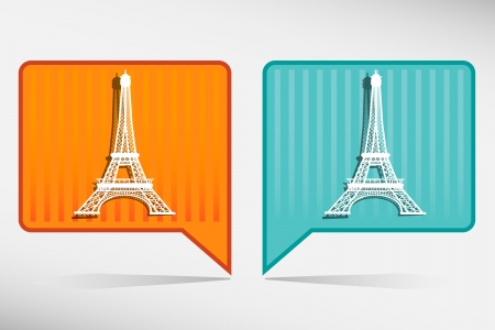 Eiffel Tower in Paris, France - orange and blue pointer Stock Vector - 22690764