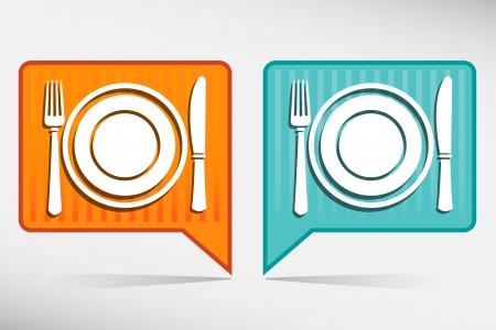 Plat, fourchette et couteau. Orange et pointeur bleu