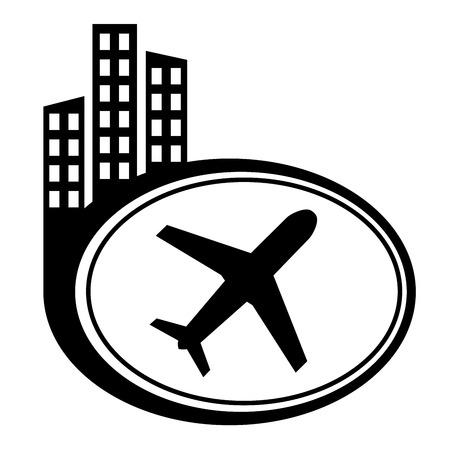 etiquette voyage: Avion - pointeur de la ville noire