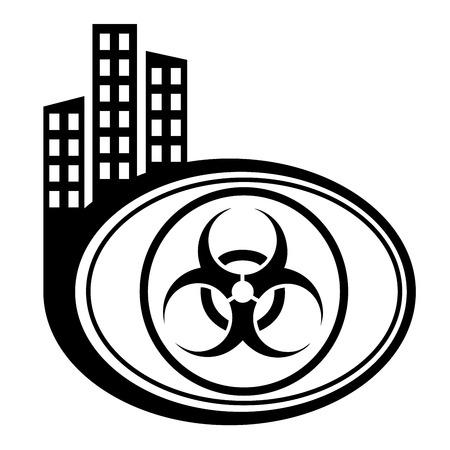 Warning symbol biohazard city pointer Stock Vector - 22796924