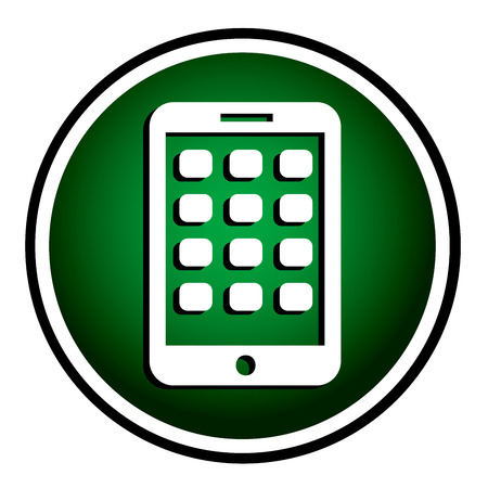 mobil: Mobile phone round green icon. Modern smartphone mobile device Illustration