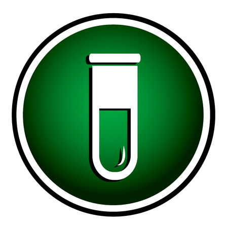 biochemistry: Test tube round green icon. Biochemistry and microbiology equipment.