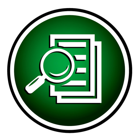 Magnifying glass round green icon - search the document.  Vector