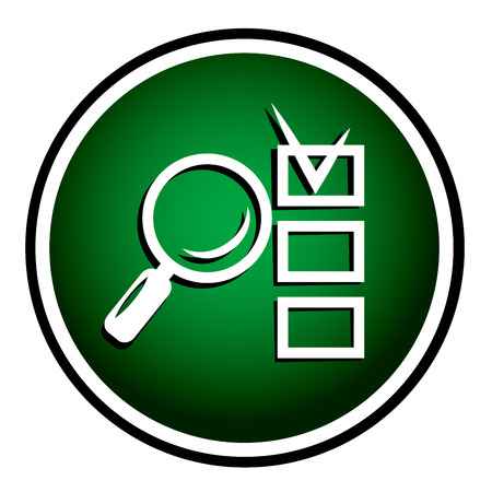Magnifying glass round green icon