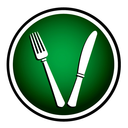 Fork and knife - round green icon Vector