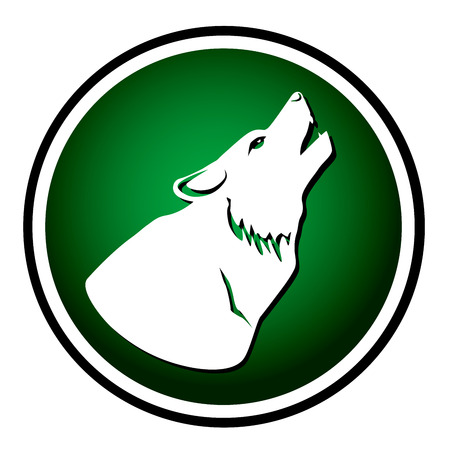 barking dog: Wolf howling at the moon round green icon