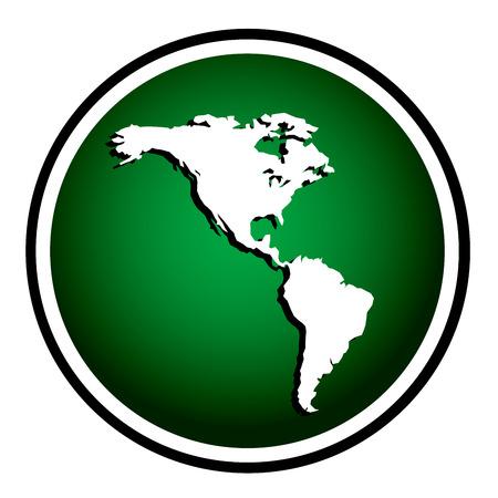 Amériques ronde icône verte Vecteurs