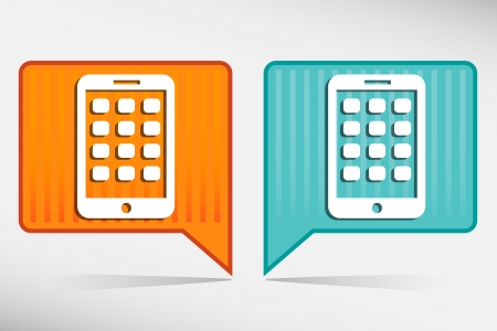 Mobile phone orange and blue pointer. Modern smartphone mobile device Vector