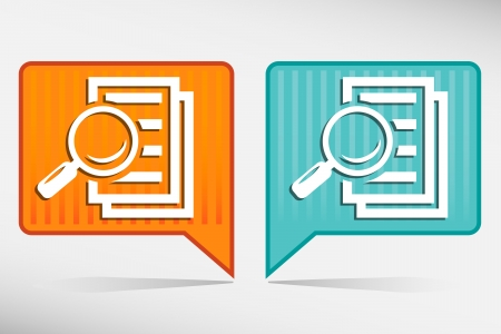 research paper: Magnifying glass orange and blue pointer - search the document.