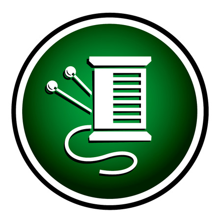 taylor: Needles and Pins. Sewing items - green round icon