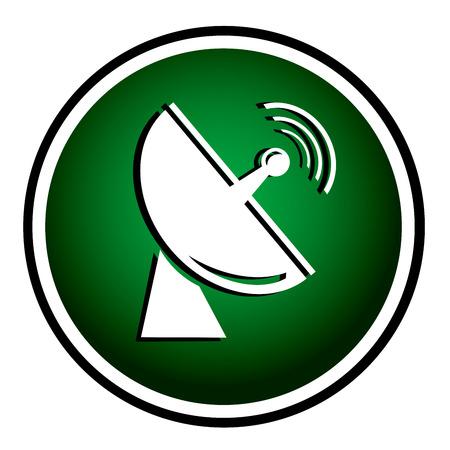 Radio radar transmitting signal - green round icon Иллюстрация