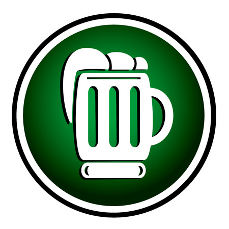 Beer green round icon Vector