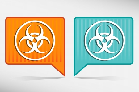 Warning symbol biohazard orange and blue pointer Vector