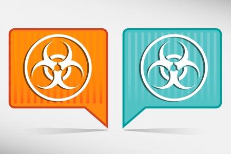 germ warfare: Warning symbol biohazard orange and blue pointer