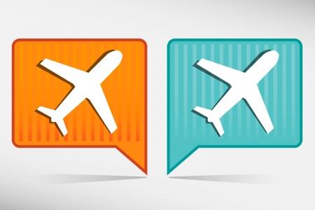 etiquette voyage: Avion - orange et bleu pointeur