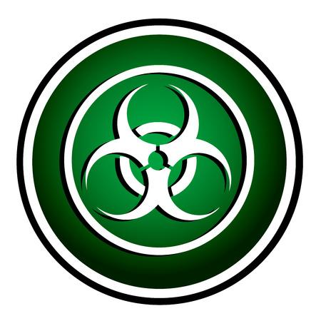 germ warfare: Warning symbol biohazard green round icon Illustration