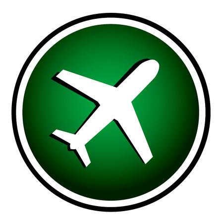 etiquette voyage: Avion - icône verte ronde