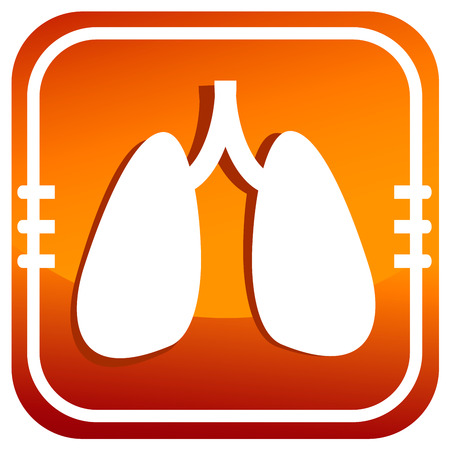Lungs. Orange button. Stock Vector - 25179722