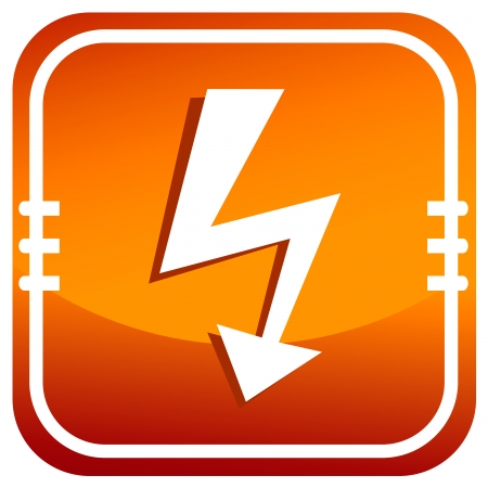 Vector orange lightning icon.