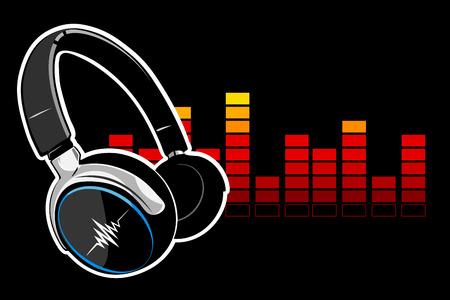 pc tune: Music headphones on black, illustration.