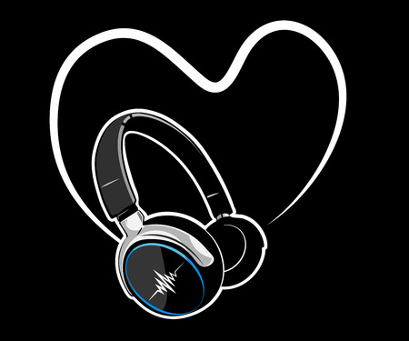 Heart with headphones. Music concept.