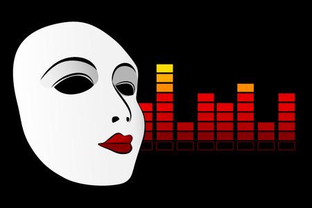 canvass: White mask and digital equalizer  Illustration
