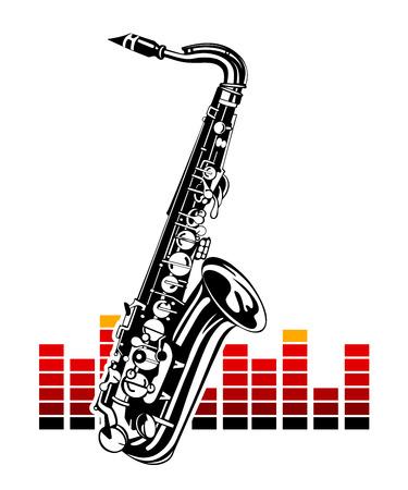 Saxofoon met equalizer. Muziek Instrument