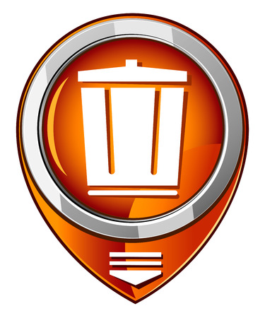 dispose: trash can in orange pointer Illustration