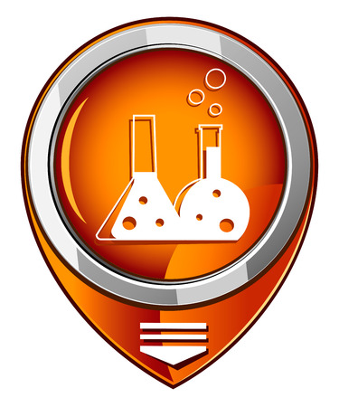 Flask with chemical reagent - orange pointer Vector
