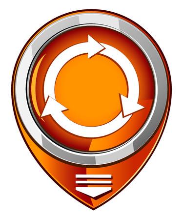 clockwise: Arrows circle in orange pointer