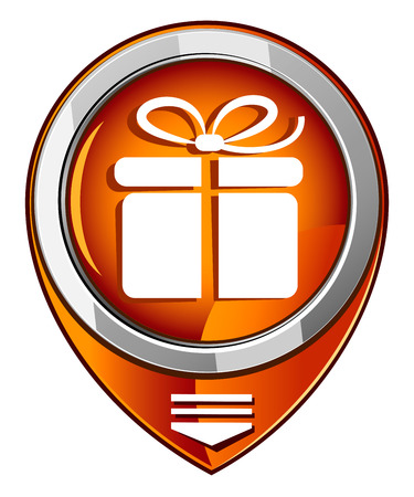 Gift box in orange pointer Vector