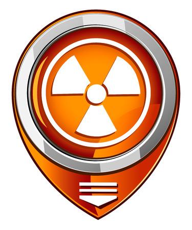 barrel radioactive waste: Radioactive vector orange pointer Illustration