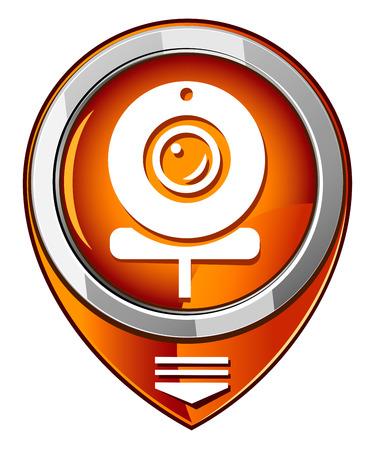 webcam: Webcam of orange pointer Illustration