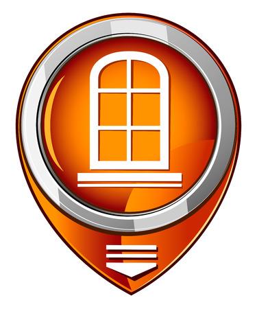 pane: Window frame - orange pointer Illustration