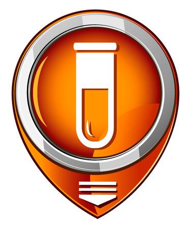 Test tube round orange pointer. Biochemistry and microbiology equipment.