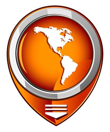 the americas: Americas round orange pointer Illustration