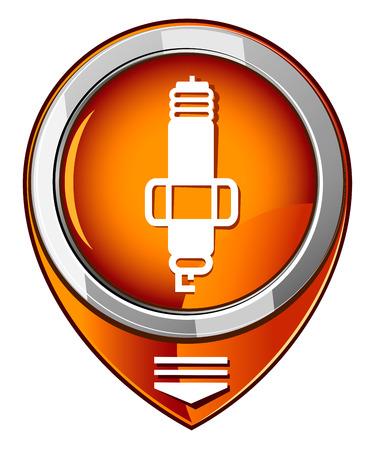 motor car candles: Sparkplug single orange pointer.
