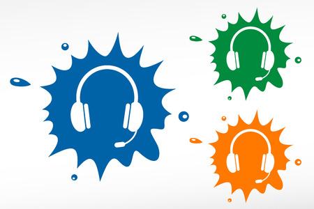 callcenter: Headset color blob. Design element.