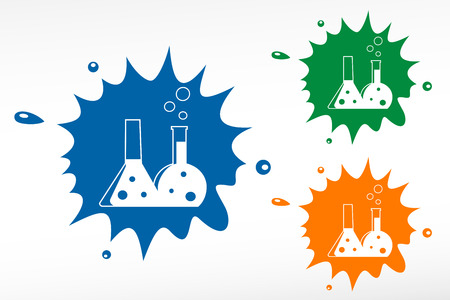 reagent: Flask with chemical reagent - color blob Illustration