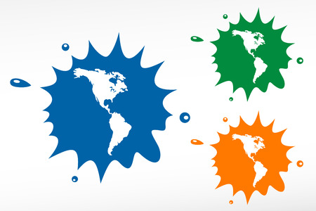 the americas: Americas map vector color blob Illustration