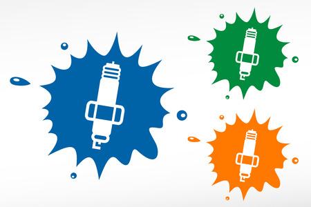motor car candles: Spark plug on color blob